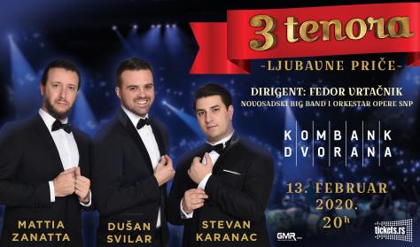 Tri tenora – ljubavne priče 13.02.2020 Kombank dvorana